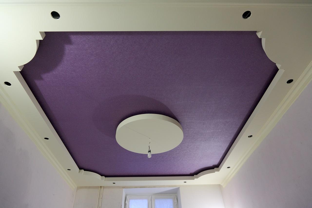 Потолок из гипсокартона своими руками фото